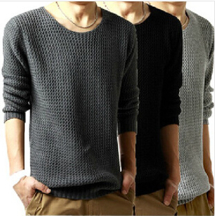 2014 casual neck long-sleeved pullover men sweater loose mens sweaters 3 color M-XXL - Daly Fashoin Co.,LTD store