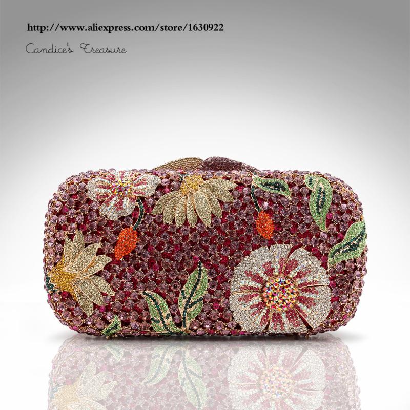 Diamante bolsa de festa Rhinestone Bag Six Colors Ladies Floral Crystal Evening Clutch Bags Purple Clutch(China (Mainland))