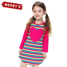 Meney's WD-003 Autumn Kids Dress 2015 Big Heart Rainbow Baby Dress for Girls Striped Straight Party Dresses Child Cute Clothing
