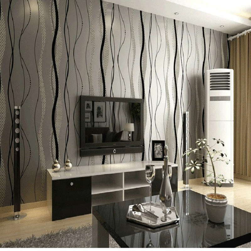 10 meter modern striped wallpaper roll papel de parede rpoom non woven living room bedroom wall