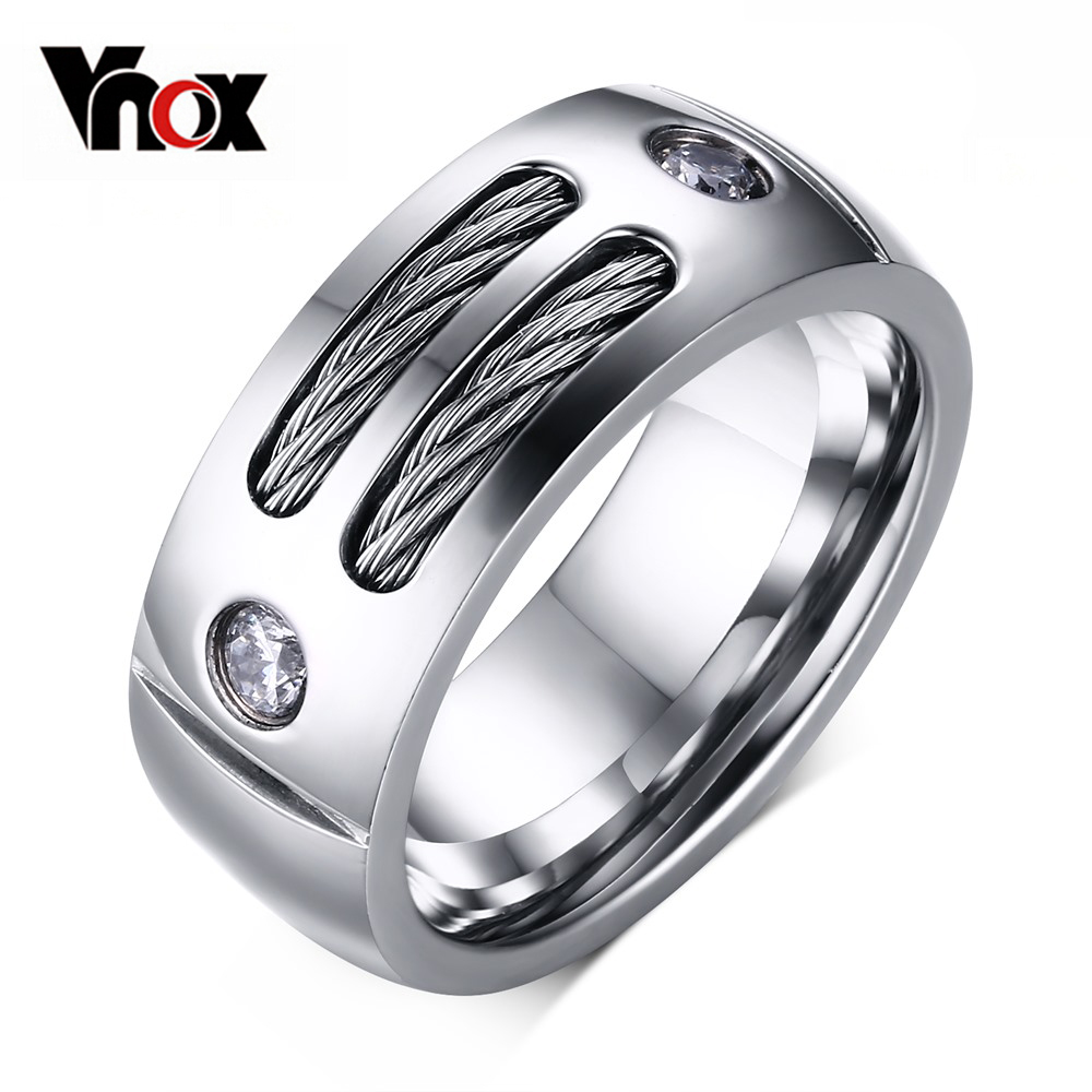2016 New Men's Ring Stainless Steel Punk Rock Ring With Wire Cubic Zirconia Party Jewelry USA Size(China (Mainland))