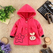 2016  children clothing baby girl hooded coat kids girls outer garment wear over coat with bunny  & smile face print  jacket(China (Mainland))