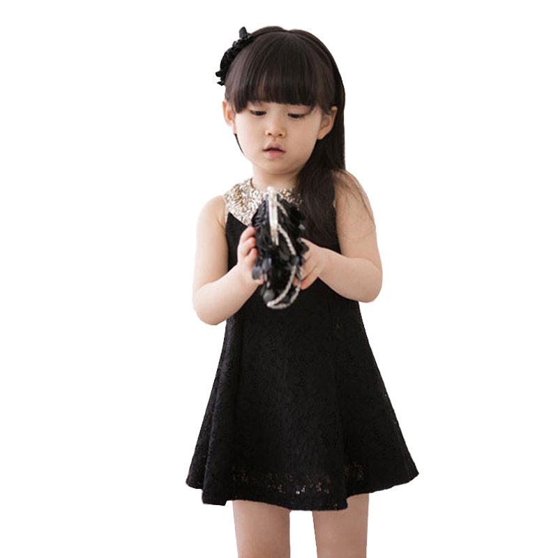 2015 New Baby Kids Girls Lovely Dress Casual Sequin Collar Sleeveless Vest Princess Lace Dress Black/White 3-10 Years(China (Mainland))