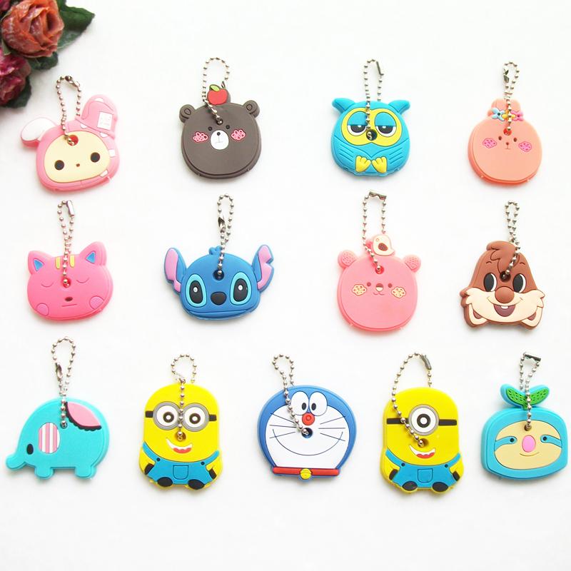 Cartoon Anime Silicone Cute Hello Kitty&Minion Owl Key Cover Key Cap Stitch Keychain Women Key Chain Key Ring Key Holder Gifts(China (Mainland))
