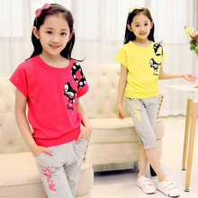 2016 new summer style 2-14 age girls casual cartoon clothing sets kids fashion t-shirt + capris pants children clothes suits 546(China (Mainland))