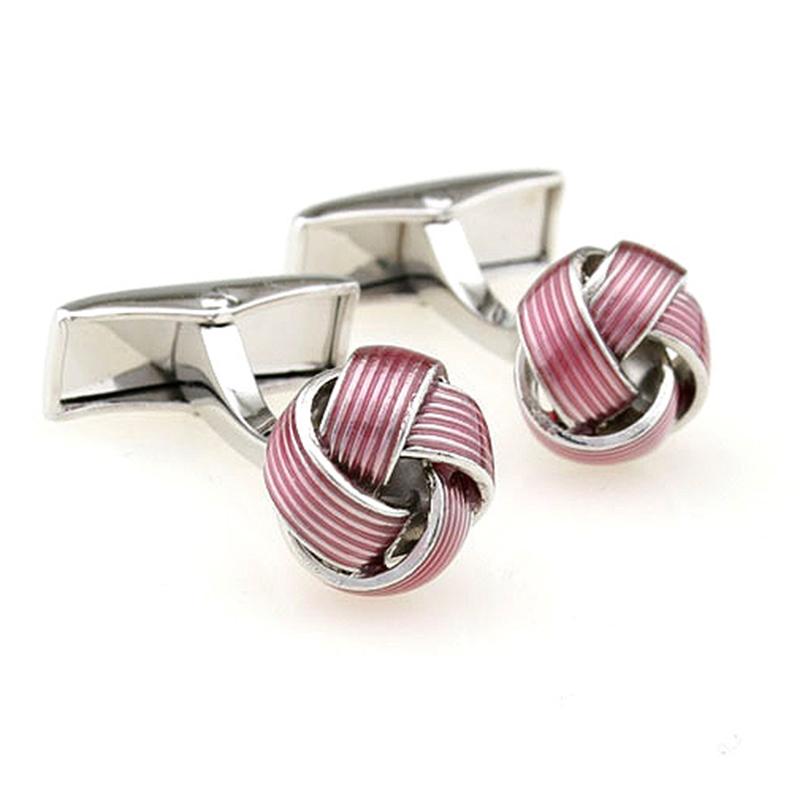 HOT SALE New Fashion Pink Cufflinks Pink Color Knot Design Copper Material Men Cuff links Laser Shirt Cufflinks for Men<br><br>Aliexpress