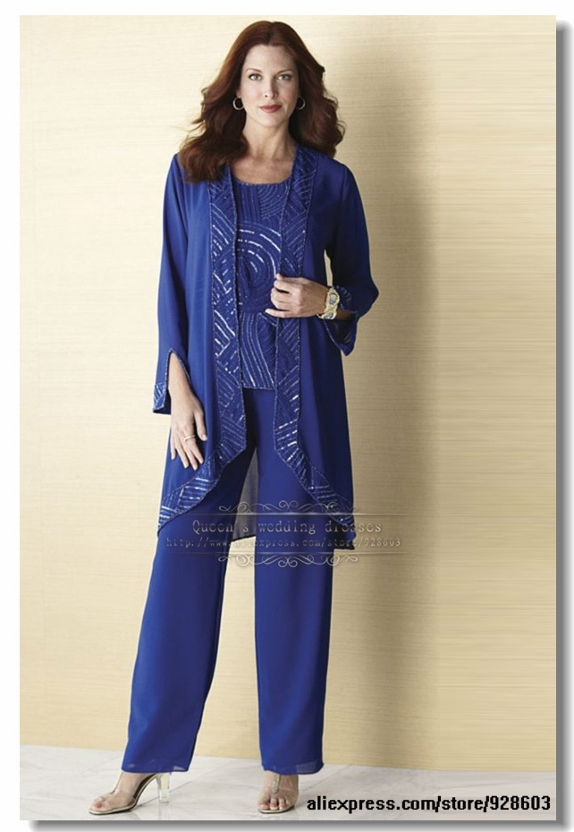 Buy plus size royal blue chiffon three for Dress pant suits for weddings plus size