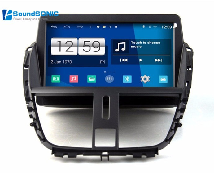 for peugeot 207 dvd gps navigation autoradio android 4 4 4. Black Bedroom Furniture Sets. Home Design Ideas