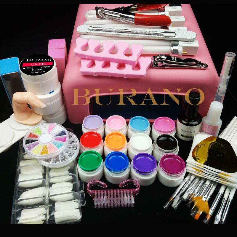 Pro 36W UV GEL Lamp & 12 Color UV Gel Practice Fingers Cutter Nail Art DIY Tool Kits Sets #001set manicure set(China (Mainland))
