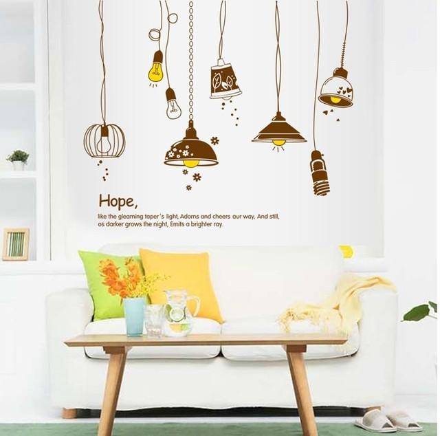 Стикер стены электрический светло-винил s гостиная кухня декор мультфильм лампы и фонари фреска наклейка