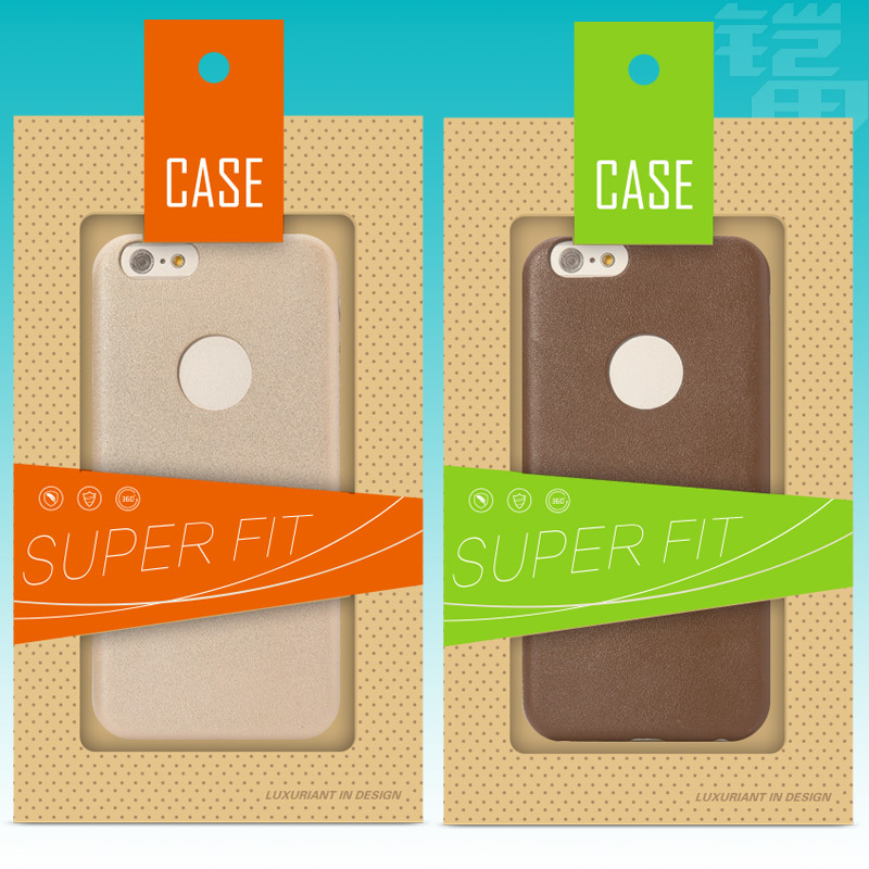 105*182mm Cell Phone Case Retail Packaging New Kraft Paper Package with PVC Window Pouch Case Box Package Bag For iPhone 6 Cover(China (Mainland))