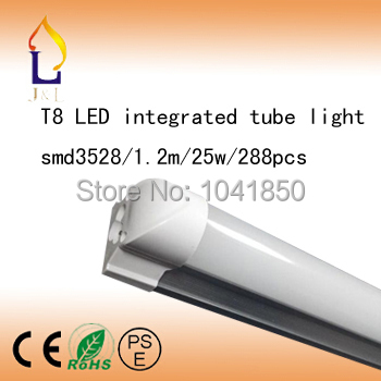 Fedex Free shipping 15pcs/lot 20W 1200MM Integrated T8 LED Tube Light SMD3528 6-7LM/PC 288led/PC 1500LM AC85-265Vled bulbs(China (Mainland))