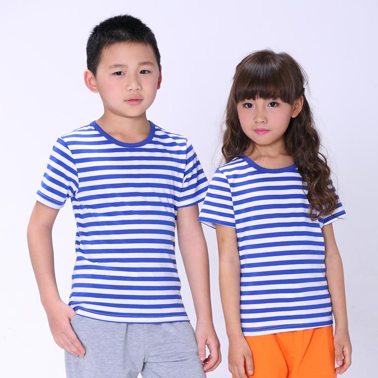 Summer Fashion Marine Style Boys Girls Striped T-shirt Active Cotton Children Soft Red Blue Black White - Dongguan Humen Yingchun Garment Factory store