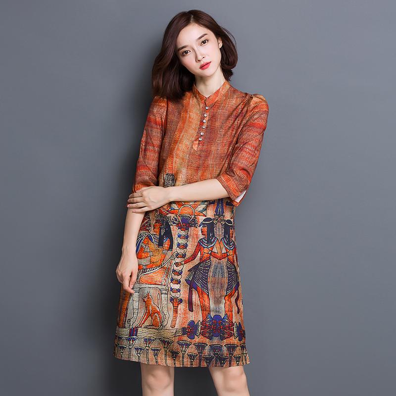 Plus Size M-XXXL Silk Dress Women Summer Dresses 2016 Retro Vintage Stand Collar Sundress Vestidos Tunique Femme Jurk LG202(China (Mainland))