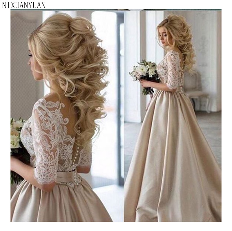 Lace Appliques Wedding Dresses 2019 New Design Illusion Back Bride Dress  Elegant Wedding Gowns White/Lvory Wedding Gowns
