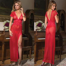 Women New Arrival Deep V Neck Good Selling Chic Backless Babydoll Lace Slit Nightwear Long Nightdress G String Lingerie