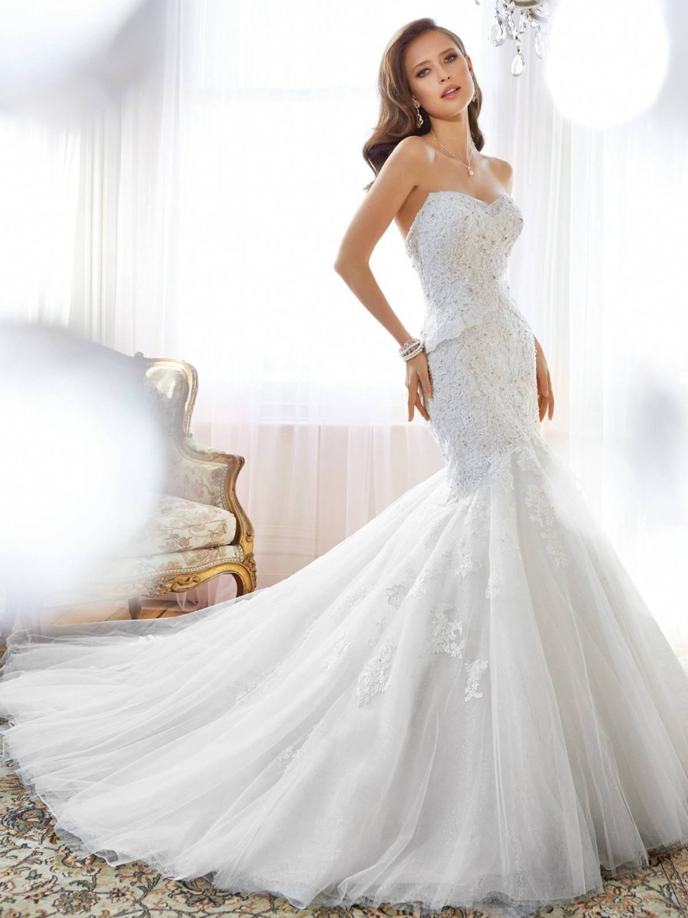 Luxury Wedding Dress Mermaid 2015 Sweetheart Neckline