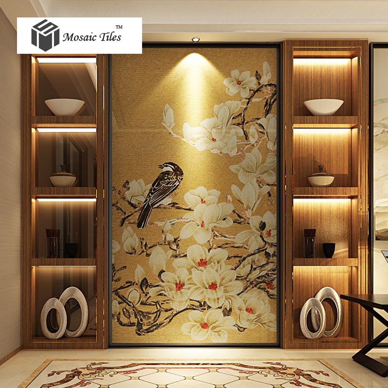 Unique theme design nature style magpie lucky bird floral art mosaic gallery decor gold backsplash tiles bisazza style mosaic(China (Mainland))