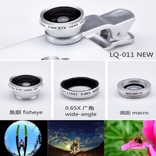 3 in 1 Magnetic fish eye macro 0.65x wide angle Lens mobile phone lenses camera fit Fisheye clip for Iphone 6 6 plus Samsung S6