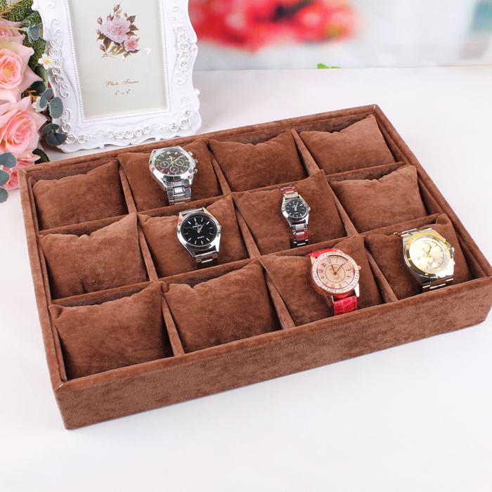 Купить качество коричневый бархат часы браслет пластина держателя 12 подушечку коробка дисплея ювелирных изделий поддон ящик для