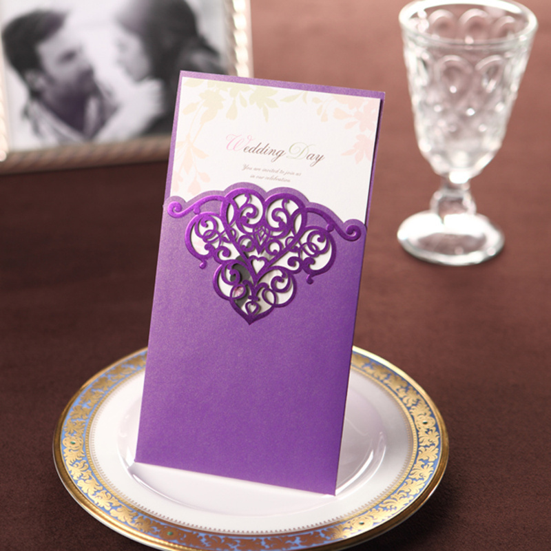 Vintage Purple Lace Cut-out Free Personalized & Customized Printing Wedding Invitations Cards Custom (Set of 50) Free Shipping(China (Mainland))
