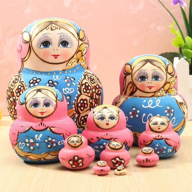 New 10Pcs/set Doll Wooden Russian Nesting Babushka Matryoshka Doll Sets Toys For DIY Hand Painted Gift For Children Adult(China (Mainland))
