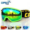 COPOZZ brand ski goggles double lens anti fog UV400 large mask skiing snowboarding men women snowboard