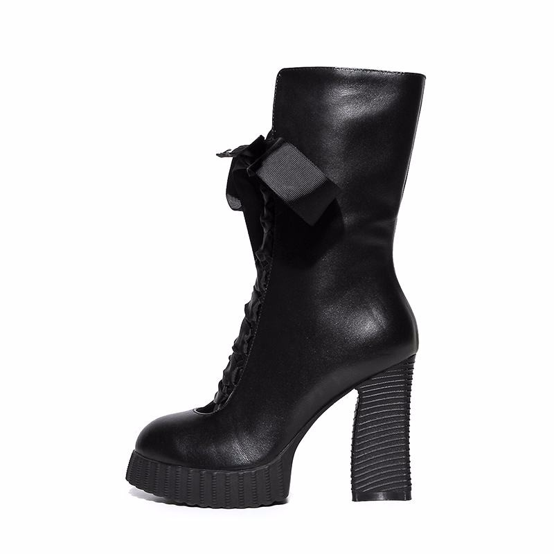 WETKISS Genuine Leather High Heels Women Boots Ribbons Thick Heels Women's Shoes Zip High Quality Platform Fall Winter Boots