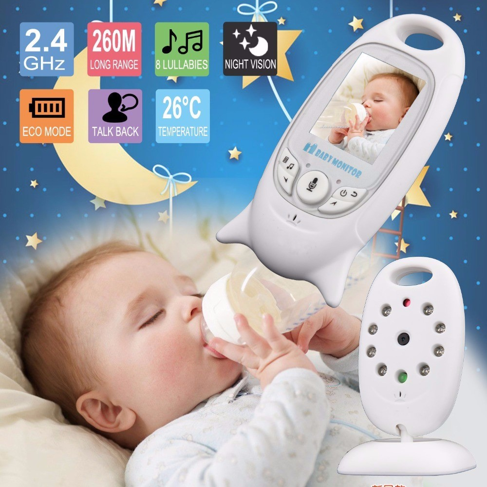 2.0 inch Wireless Color Video Baby Monitor Security Camera 2 Way Talk Night Vision IR LED Temperature Monitoring with 8 Lullaby