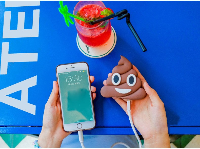 Portable Poo modeling Power bank 2600mah Battery Cute Cartoon Phone Battery Charger For All Mobile Phone or camera