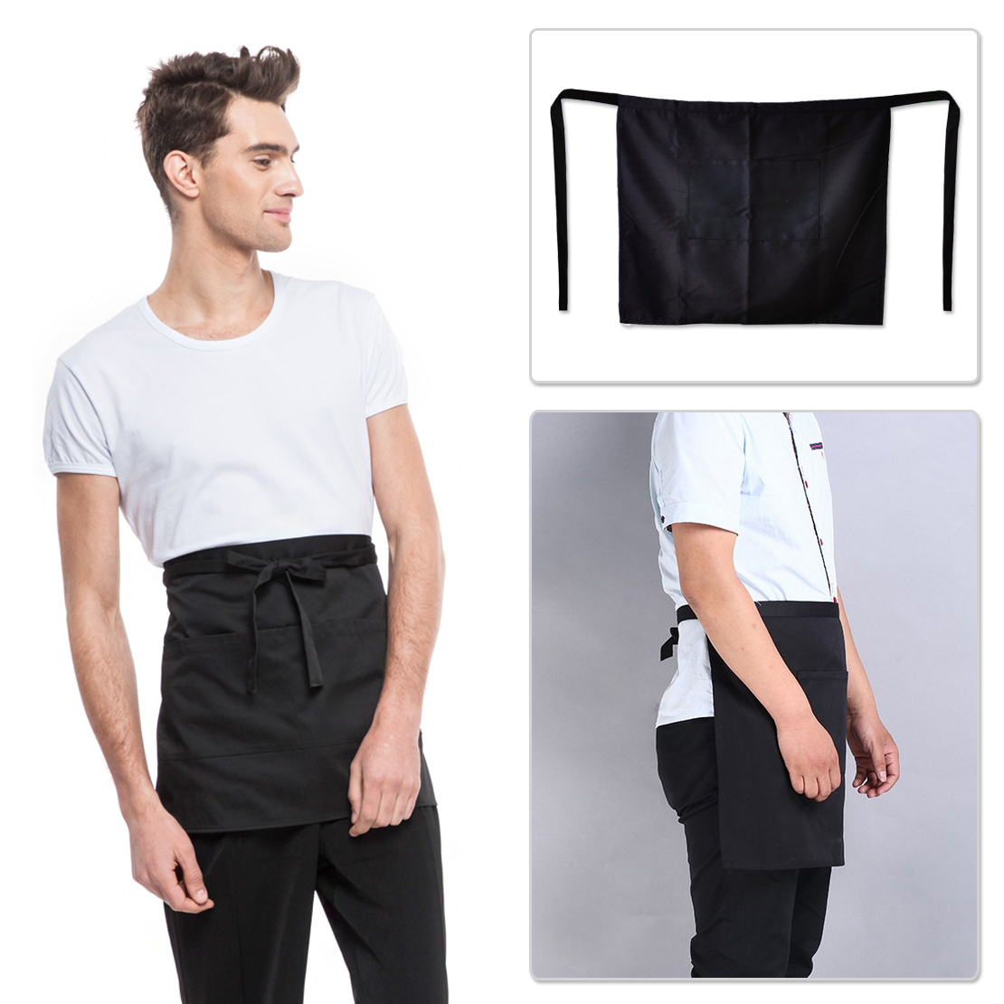 Black Unisex Waiters Waitress Chef Waist Half Short Restaurant Apron Two Pockets for Home Commercial Industrial Adjustable Strap(China (Mainland))