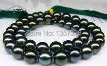 huij 002776 STUNNING 11-12 MM TAHITIAN BLACK NATURAL PEARL NECKLACE14KG(China (Mainland))