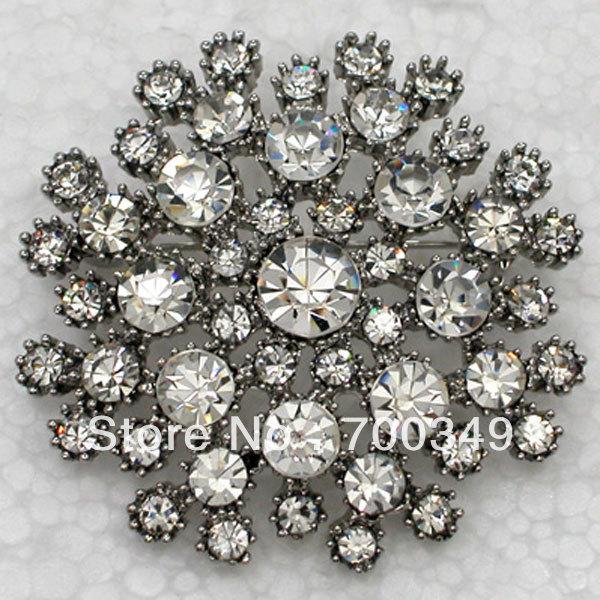 Wholesale 12piece/lot Clear Crystal Rhinestone Bridesmaid Wedding party prom Flower Pin Brooch C815 A