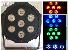 4pcs/lot LED Luxury DMX 8 Channels Led Flat Par Light 7x12W RGBW 4IN1(China (Mainland))