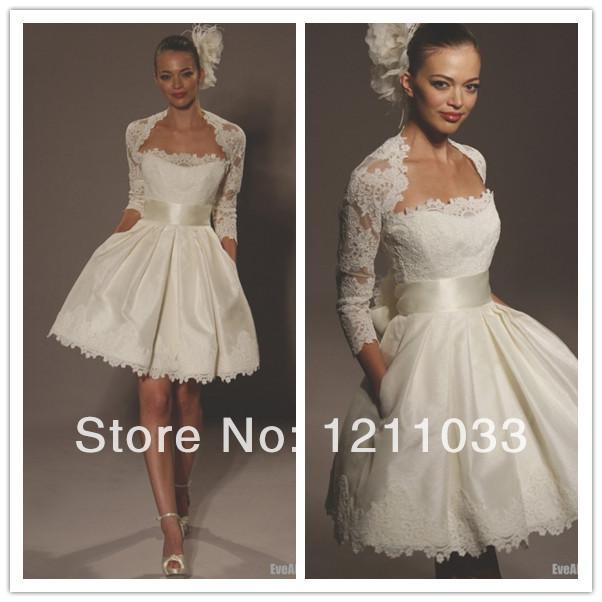 New dressivory lace long sleeve corset short wedding for Lace sleeve corset wedding dress
