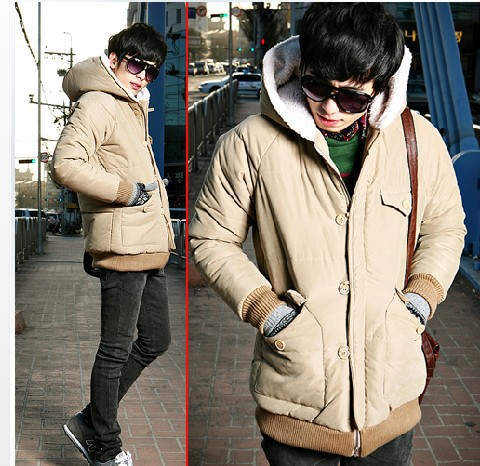 Korean style men new Thickening hooded cotton padded clothes winter coat size M L XL XXL