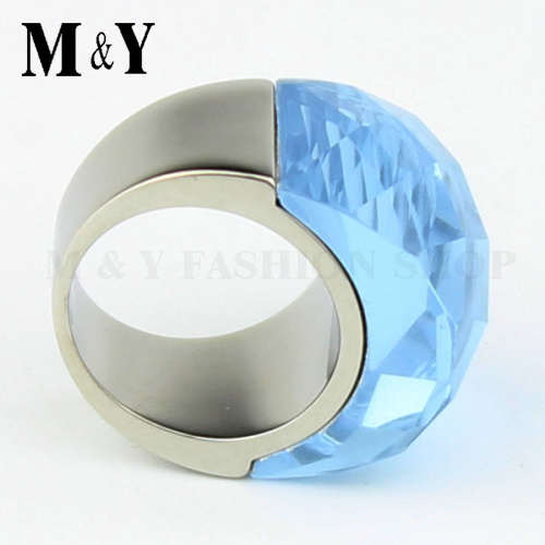 Women luxury ring 316L stainless steel shiny polish elegant clear Austri crystal ring for women gift ring TTR53(China (Mainland))
