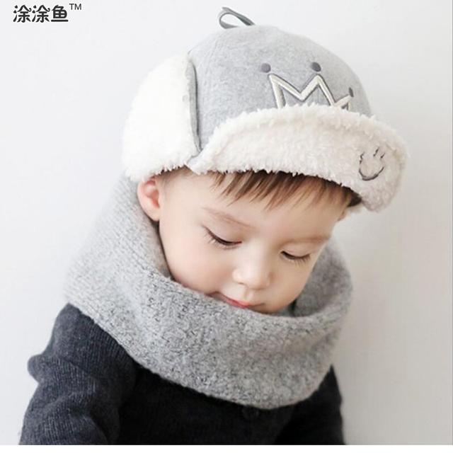 2016 короны детская теплую шапку плюс бархат детские зимние шапки толстые шапки бомбардировщик младенца шлема трикотажные капот шляпу-ушанку