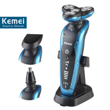 T123 kemei men shaving machine nose trimmer barbeador 3 in 1 washable rechargeable electric shaver 3D beard shaver razor(China (Mainland))