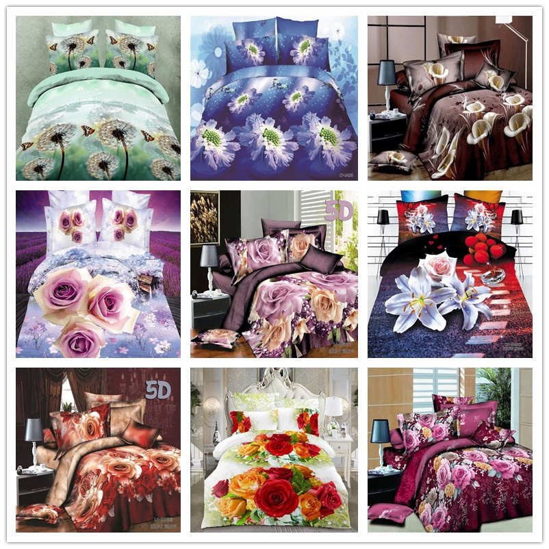 White Lilly Flowers Brand Bedding Set 4pcs Duvet Quilt Comforter Covers Sets 3D Bed Linen Sets for Queen Size Cotton/Polyester(China (Mainland))