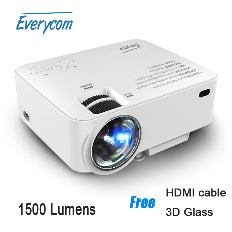 Everycom X5 Mini LED Projector 1500 Lumens AC3 Support 1920*1080 video Home theater VGA HDMI USB SD portable Proyector Free Gift(China (Mainland))