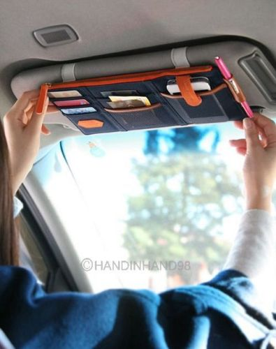 New Arrival Multi Function Automobile Interior Accessories Auto Sunshade Cover Car Sun Visor CD Holder Phone Hanging Bag(China (Mainland))