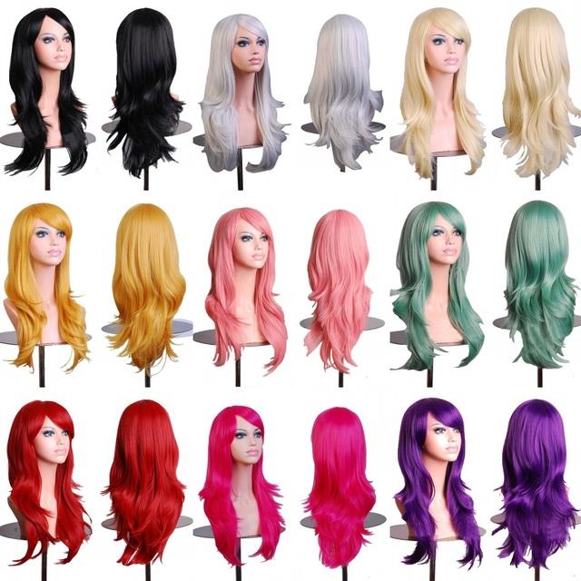 Горячая 70 см длинные вьющиеся черные/redpink/коричневый 12 цвета Аниме Косплей парик, Высокое качество женщин партии канекалон волокна синтетические волосы, парики