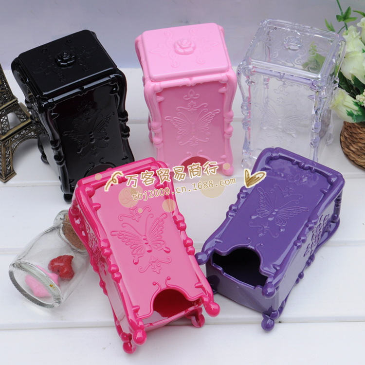 Makeup Cotton Box Storage Box Acrylic Makeup Organizer Plastic Box Cosmetic Box Mei red purple pink transparent black wholesale(China (Mainland))