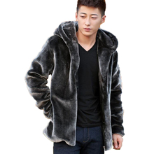 Winter Leather Suede Jacket Men Hooded Male Faux Fur Coat Men Fake Mink Men's Coats(China (Mainland))