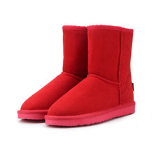 HABUCKN אמיתי עור זמש חורף שלג מגפי נשים אמיתי כבשים פרווה צמר מרופד חורף נעליים באיכות גבוהה חום שחור(China)