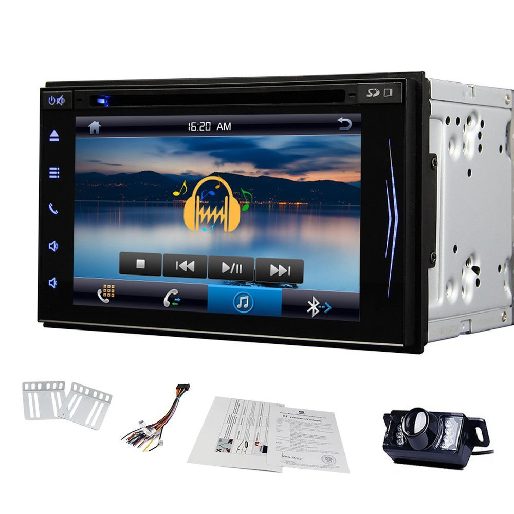 Free Rear Camera 6.2 inch Car DVD Player Tablet HD Capactive Touch Screen Car Audio Radio Stereo Bluetooth In Dash Headunit(China (Mainland))