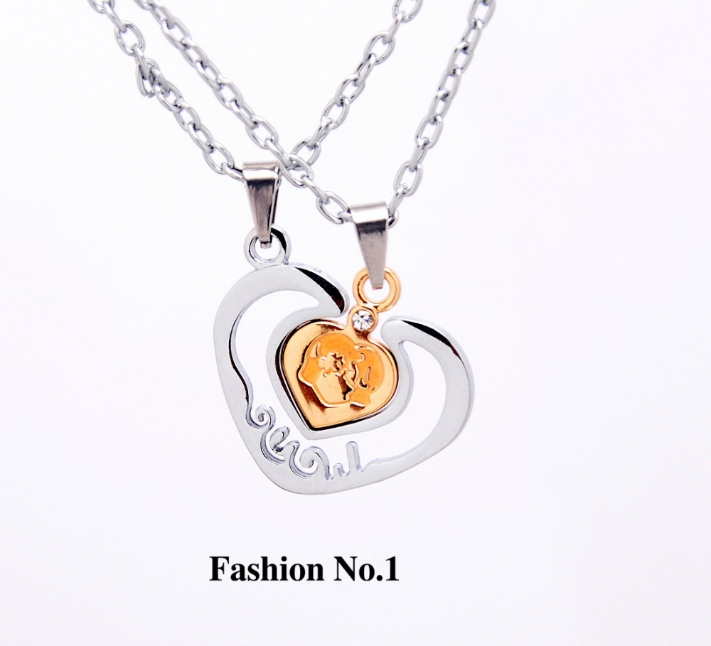 Two Hearts Men Women's Couple Gifts Lovers' Necklaces Chains Stainless Steel Crystal Pendant Necklaces Free Shipping(China (Mainland))