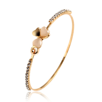 2015 New Fashion Jewelry Brand Design Sweet Gold Plated Clover Opal Charm Bracelet Exquisite Bracelets Bangle For Women Hot PT36