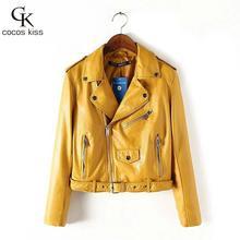 2016 Mujer fashion Women Leather Jacket And The Wind Zipper Bright New Ladies Leather Coat Jacket Women(China (Mainland))